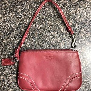 Leatherware coach Berry red wristlet coin purse
